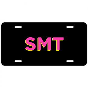 Pink and Yellow Shadowed Text Monogram License Plate