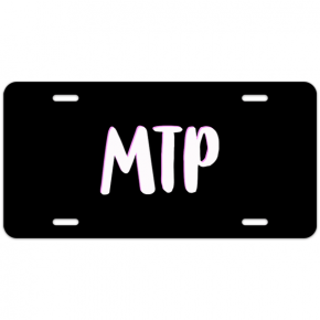 Pink and White Shadowed Text Monogram License Plate