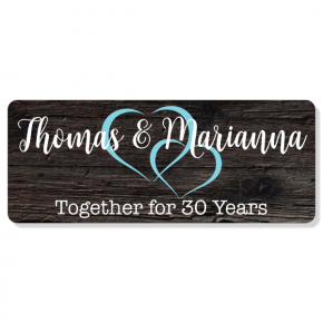 "Linked Hearts Anniversary Sign | 4"" x 10"""