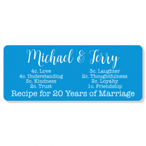 "Marriage Recipe Anniversary Sign | 4"" x 10"""