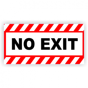 "No Exit Vinyl Decal Red Stripes - 6"" x 12"""