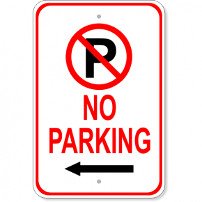 "No Parking Left Arrow Aluminum Parking Sign | 18"" x 12"""