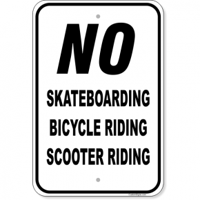 "No Riding Aluminum Sign | 18"" x 12"""