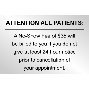 No Show Fee to Patients Custom