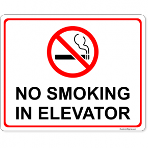 """No Smoking In Elevator Full Color Sign 