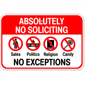 "No Soliciting Anything Aluminum Sign | 12"" x 18"""