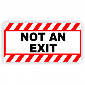 "Not An Exit Vinyl Decal Red Stripes - 6"" x 12"""