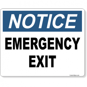 """Notice Emergency Exit Full Color Sign 