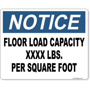 """Notice Floor Load Capacity Full Color Sign 
