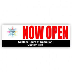 Now Open Hours Banner | 2' x 6'