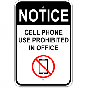 "Office Cell Phone Aluminum Sign | 18"" x 12"""