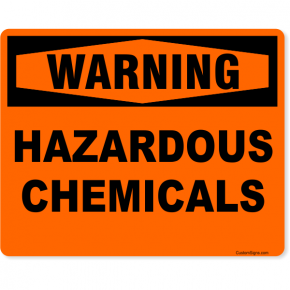 "Orange Warning Hazardous Chemicals Full Color Sign | 8"" x 10"""
