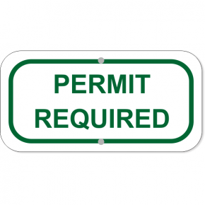 """Permit Required Add-On Aluminum Sign Green 
