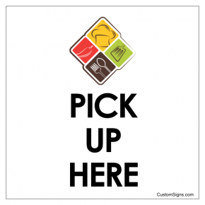 "Pick Up Here Sign with Icon | 8"" x 8"""