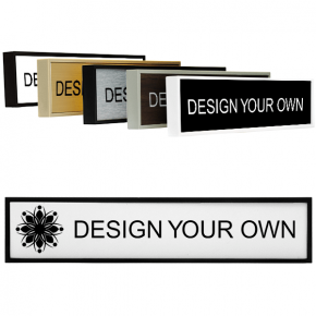 """Square Engraved Plastic Sign with Plastic Holder - 2"""" x 10"""""""