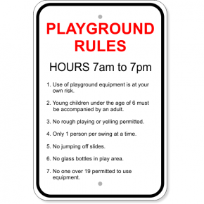 "Playground Rules Aluminum Sign | 18"" x 12"""