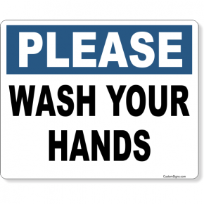 "Please Wash Your Hands Full Color Sign | 8"" x 10"""