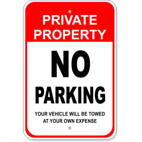 "Private Property No Parking Aluminum Sign | 18"" x 12"""