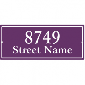 "Rectangle Border Home Address Sign w/ Street Name | 5"" x 12"""