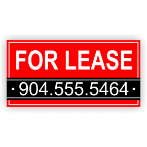 Red Custom Phone Number For Lease Banner | 3' x 6'