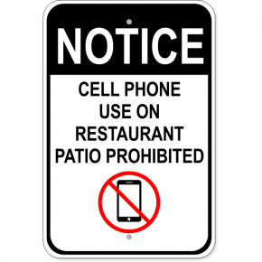 "Restaurant Patio No Phones Aluminum Sign | 18"" x 12"""