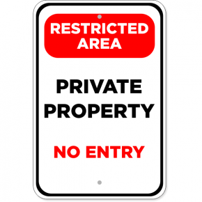 "Restricted Area Private Property Aluminum Sign | 18"" x 12"""
