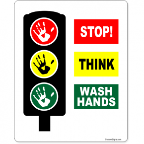 "Stop Think Wash Hands Full Color Sign | 10"" x 8"""