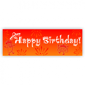 Sunset Sombrero Birthday Banner | 2' x 6'