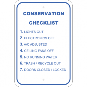 Vertical Conserve Before Leaving Checklist Sign