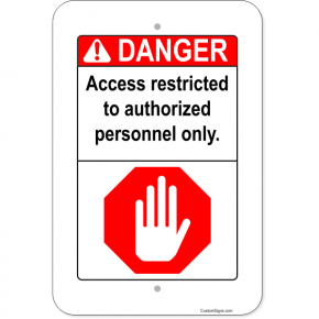"Vertical Danger Authorized Personnel Aluminum Sign | 18"" x 12"""