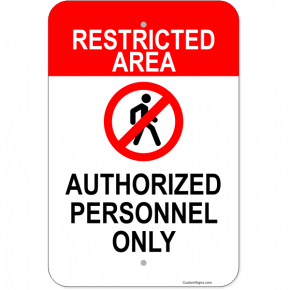 "Vertical Restricted Area Authorized Personnel Aluminum Sign | 18"" x 12"""