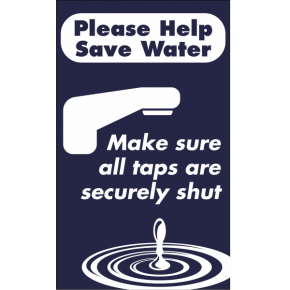Vertical Taps Shut Conserve Water Sign