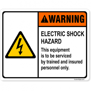 "Warning Electric Shock Hazard Full Color Sign | 8"" x 10"""