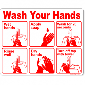 "Wash Your Hands Instructions Full Color Sign | 8"" x 10"""