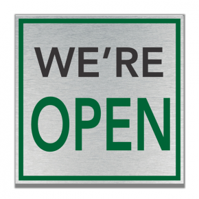 We Are Open Full Color Plastic Sign