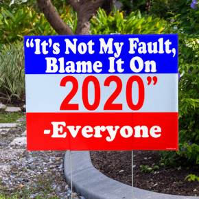"""Blame It On 2020"" Funny Yard Sign"