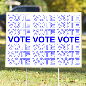 """Thank You Bag Style Blue """"Vote"""" Yard Sign 