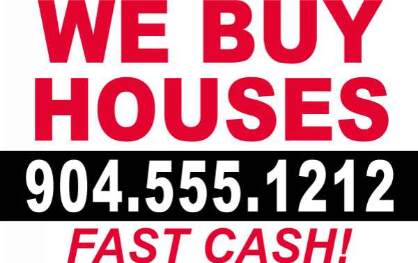Plastic We Buy Houses Fast Cash Yard Sign