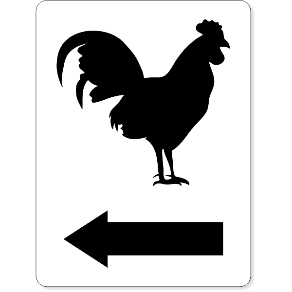 Engraved Rectangle Men's Bathroom Funny Rooster Sign