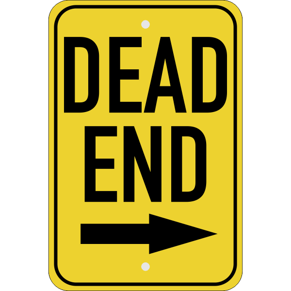 Vertical Right Arrow Dead End Sign