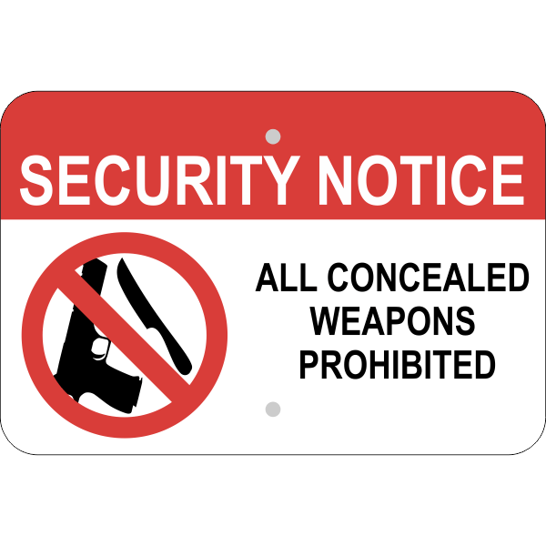 Horizontal No Concealed Weapon Security Sign
