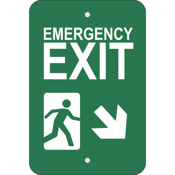 Vertical Down Right Arrow Emergency Exit Sign