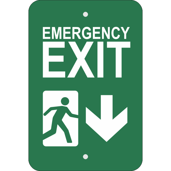 Vertical Down Arrow Emergency Exit Sign