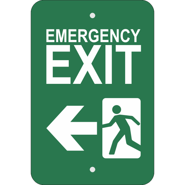 Vertical Left Arrow Emergency Exit Sign