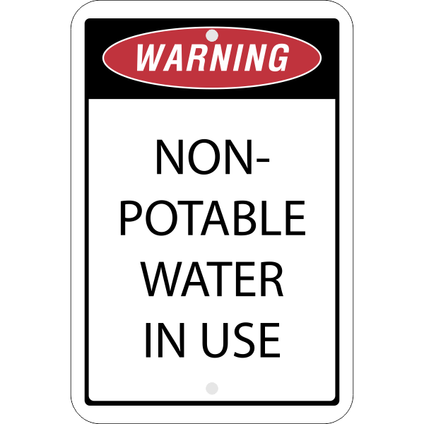 Vertical Non-Potable Water Warning Sign