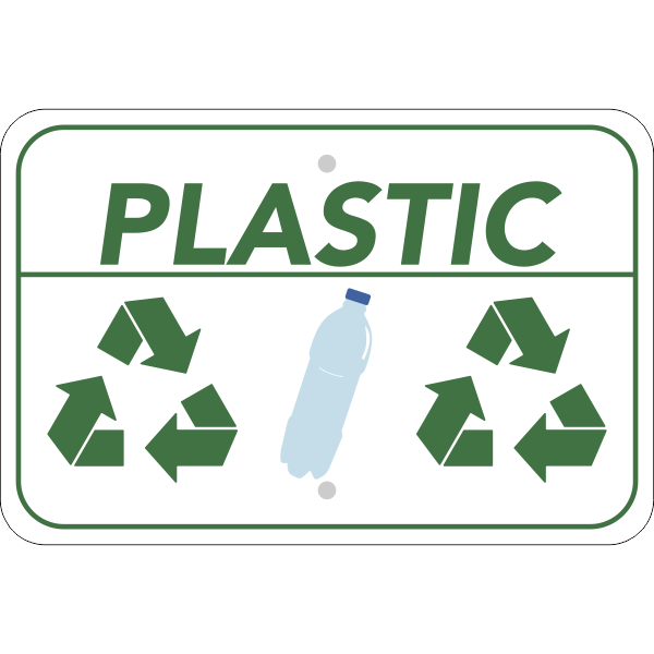 Horizontal Plastic Recycling Sign