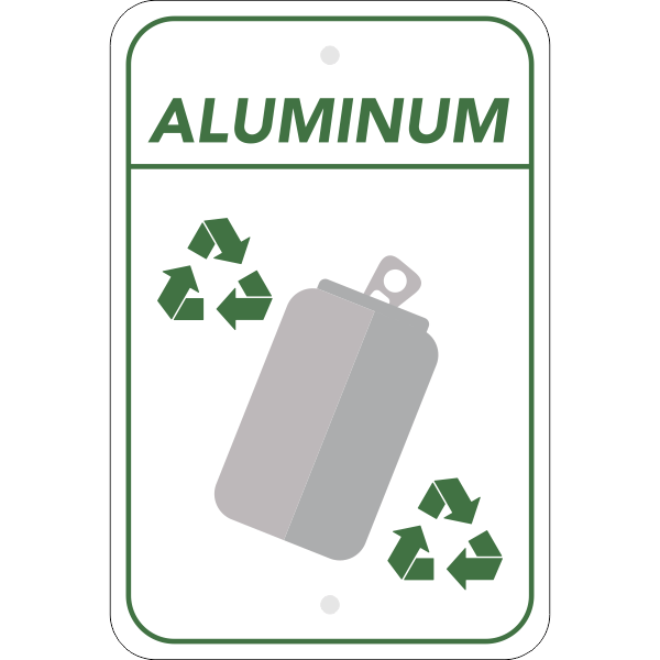 Vertical Aluminum Recycling Sign