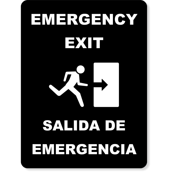 """Bilingual Engraved Emergency Exit Sign - 6"""" x 8"""""""