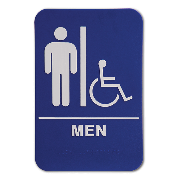 "Blue Men's Handicap ADA Braille Restroom Sign | 9"" x 6"""