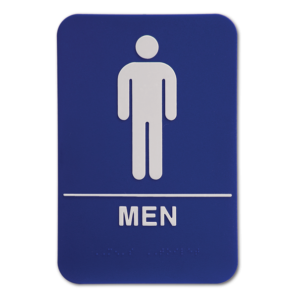 "Blue Men's ADA Braille Restroom Sign | 9"" x 6"""